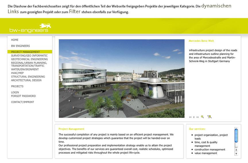 Automatische Darstellung von passenden Referenzen der bw-engineers durch Einbindung einer PIA-DAtenbank in die TYPO3-Homepage