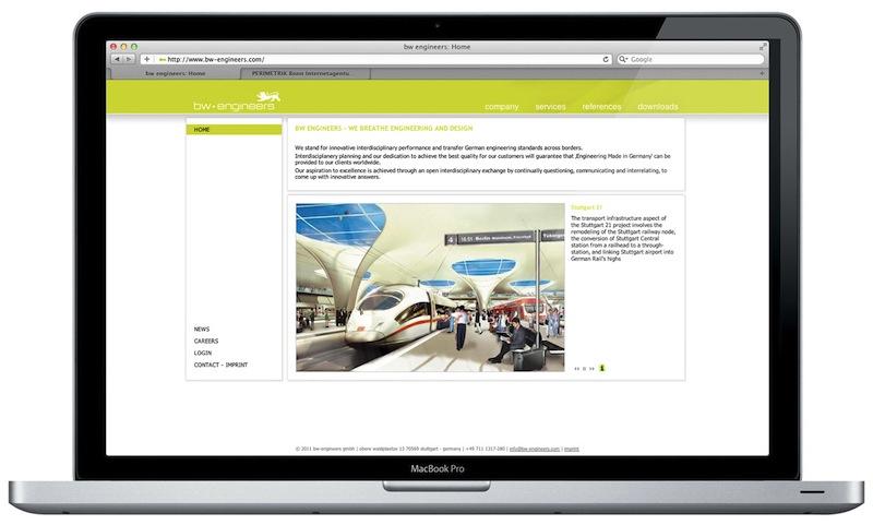Internetagentur PERIMETRIK Webdesign Bonn erstellt TYPO3 Webseite und PIA Projekt-Datenbank für bw-engineers - automatische Darstellung der Top-Projekte