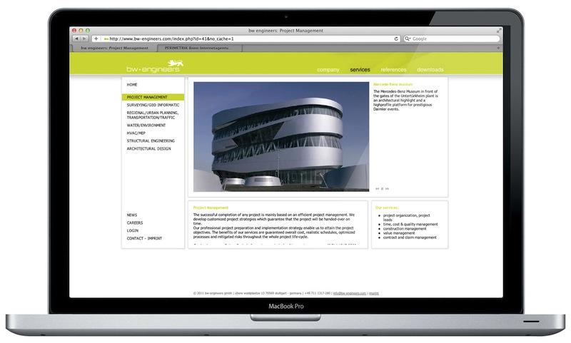 Internetagentur PERIMETRIK Webdesign Bonn erstellt TYPO3 Webseite und PIA Projekt-Datenbank für bw-engineers - Darstellung der Fachbereiche
