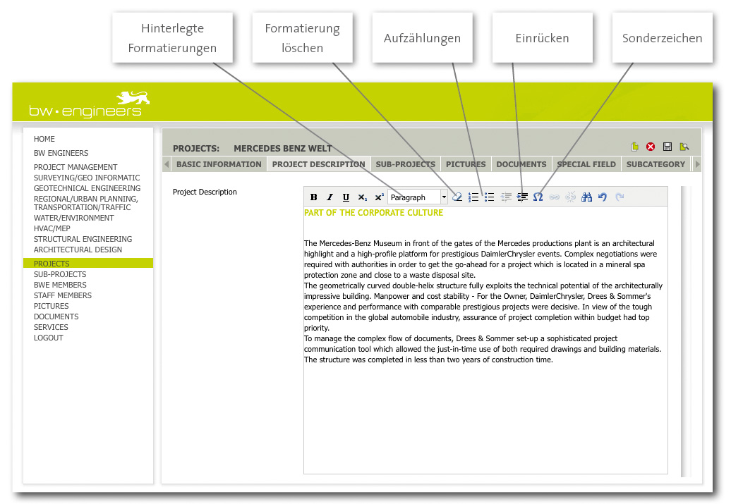 Der Text-Editor für PIA-Web-Datenbanken im Detail