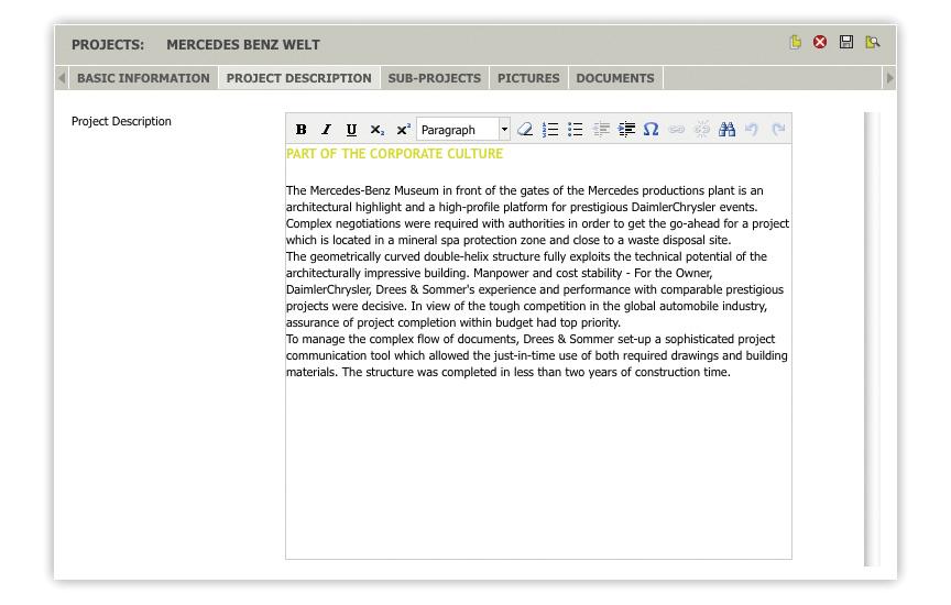 Der Text-Editor für PIA-Web-Datenbanken